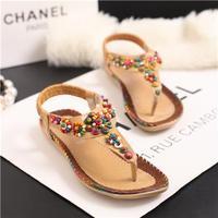 Female Summer Flip Past National Wind Beaded Flat Shoes Women Bohemian Clip Toe Flat Heel Sandals