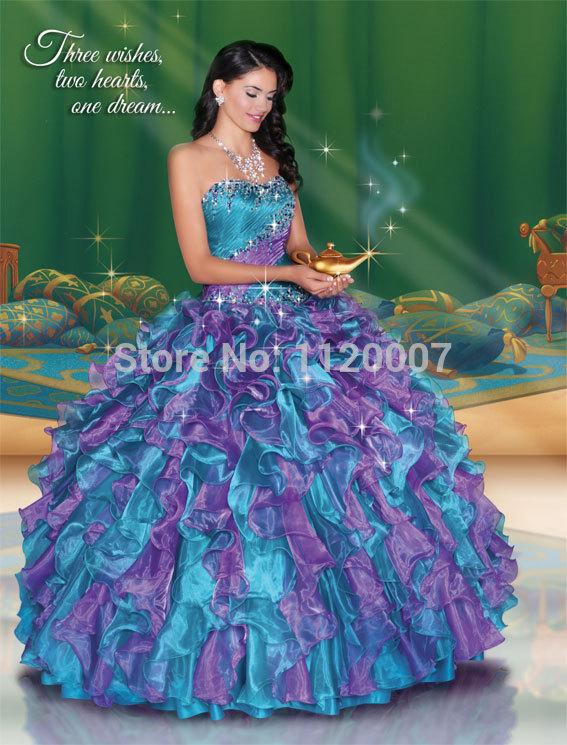 2015 Vestidos De 15 Anos Puffy Purple Quinceanera Dresses Ball Gowns ...