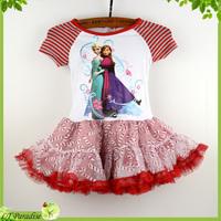 2014 New Frozen Dress Elsa & Anna Princess Tutu Dress Girl Party Dress Cotton Girl Clothing Vestidos de Menina Sofia Girl Dress