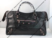 38CM Rose Golden Studs Women City Bag / Genuine Leather Women Motor Cycle Bag / Classic Designer Women Should Bag (BG387)