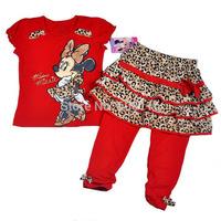 Wholesale 2014 New Girls Suit, Baby girl 3pcs Minnie set with T-shirt + skirt + pants, Children wear suit, 4sets/lot-WYX-MNJ7932