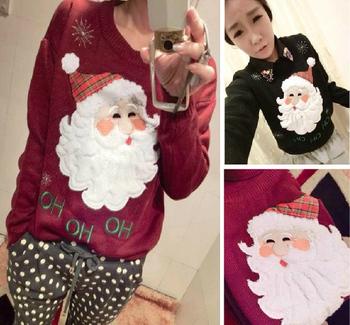 Новый 2014 Марка Лето - Осень вязаный свитер O -образным вырезом с длинным рукавом Полосатый Симпатичные рождественские свитера женские tricotado пуловеры