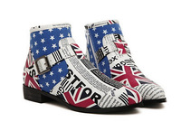 New 2014 Ladies Vintage Flag of the United Kingdom Women Fashion Ankle Boots Flat Heel Motorcycle Boots Artifical Leather Shoes