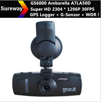 Original 3H2F GS6000 Ambarella A7 GPS Car DVR Recorder + Super HD 2304 * 1296P 30FPS + GPS Logger + G-Sensor + WDR