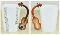 Free Shipping 2014 New High Quality Creative Guitar Music Mug Ceramic Mug Coffee Tea Cup/novelty gift