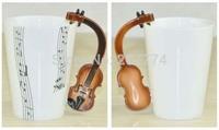 Free Shipping 2014 New High Quality Creative Guitar Music Mug Ceramic Mug Coffee Tea Cup/novelty gift