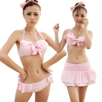 Shu Mei Zi 2014 new arrival swimwear women's swimwear bikini 3 pieces skirt style swimsuit 1432
