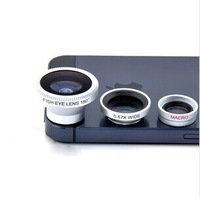 Alloy Camera lens 3pcs=Wide Lens+Macro Lens+180 Fish Eye Lens Self-Adhesive For iPhone 4s 5s all cellphone phones Digital Camera