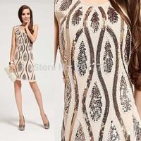 2014 Shining Sparkling Embroidery Beige Sequin Dress Women's Sexy Phoenix Paillette Dresses Party Club Wear