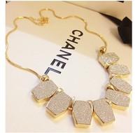 Glod shining geometric statement necklace women fashion necklaces collares vintage colar coruja shourouk