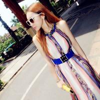 2014 summer sweet sexy long skirt bohemia strapless sleeveless chiffon print one-piece dress