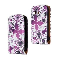 2014 New Flower Butterfly Cartoon Flip Leather Case Cover For Samsung Galaxy Y S5360 Phone Cases