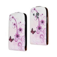 2014 New Flower Butterfly Star Printing Pattern Flip Leather Case Cover For Samsung Galaxy S3 SIII Mini i8190 Phone Cases