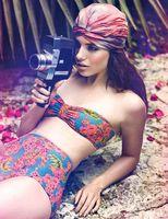 2014 Vintage Women Flower Print Swimsuits High Waist Swimwear Beach Dress Halter Swimwear high waist Bikini Set