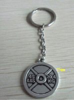 Free Shipping 10pcs a lot fashion antique silver plated 45 LBS and 20.4 KG weight plate weightlifting Key chain Gym keyrings