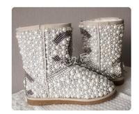 Drop shipping designer luxury Diamond pearl women snow boots hand make Fashion Women Brand Winter Genuine Leather Fur Boots