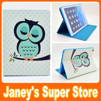 Lovely Cartoon PU Leather + TPU Case for iPad Air Cute Owl Flower Tower Desien Flip Cover Case with Screen Protector