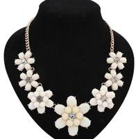 2014 bohemia fashion flower statement necklaces female perolas long necklaces colar masculino women jewelry