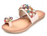 New summer han edition slippers Bohemia beaded rhinestone pregnant women flat toe cool slipper shoes free shipping LT027