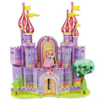 Free Shipping 3d jigsaw puzzle Children paper Cartoon Construction Puzzle Toys purple fortress Wisdom Early Education Toys