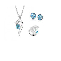 Fashion plated austria crystal women S03 pendant necklace/earrings/rings Jewelry Sets