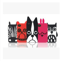 Brand 3D Cute Cartoon aminal Soft Silicone Cell Phone Case Cover For Apple iphone 4 4G 4S 5 5G 5S
