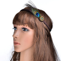 freeshipping retail fashion peacock feather with vinage gems headband popular fashion hair accessories