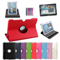 360 Rotating Stand Cover Leather Case For Samsung Galaxy Tab 2 10.1 inch P5100 P5110 p7500 +Stylus+Screen Protector As Gift