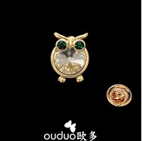 2014 Broches free Ship Ouduo New Small Owl Collar Pin Female Shirt Jewelry Vintage Animal Charm Brooches Suit Accessories Gift