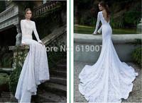 2015 Berta Elegant Slim Fit Mermaid Gown White Lace Long Sleeve Chapel Train Backless Wedding Dresses Bridal Dress Wedding Gowns
