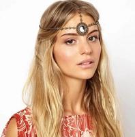 Free shipping 2014 new Fashion hair accessories jewelry retro Bohemia folk gem cutout bow round headgear Headband chain women