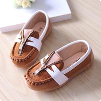 2014 autumn child leather boys shoes baby shoes zipper single shoes child Moccasins girls shoes