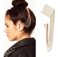 Free shipping 2014 new Fashion hair accessories punk jewelry sexy trench retro Bohemia folk hair stick tassel gold chain women