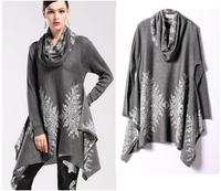 European Style Puloveres Feminino Long Sleeve Irregular Jacquard Sweaters Women Pullover Turtleneck Grey Orange Sweater SS14C008