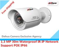 Free shipping Da Hua1.3 MP Network camera Waterproof IR IP camera IR 30m HFW2100P  Support POE IP66 Web camera
