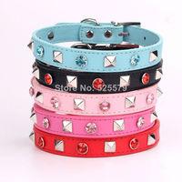 20pcs/lot Fashion pet collars Color diamond + rivet design PU leather Puppy cat belt Adornment necklace for dogs BJ-015