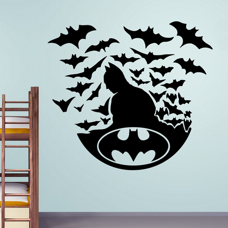 New 2015 batman with bats vinyl wall decals wallpaper for Batman wall mural