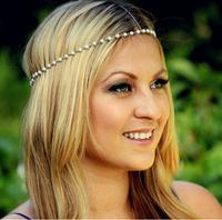 Handmade Free shipping, Beaded Bohemian Head Chain, hair chain, Chain headpiece, Boho hair head jewelry, Music Bridal hair
