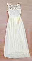 2014 Hot Sell Women Summer Sleeveless White Top Crochet Sexy Chiffon party Maxi Dress