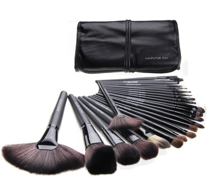 24 pcs Professional Makeup Brush Kit Makeup Brushes Sets Cosmetic Brushes && Good Quality PU Leather Bag (MAKE-UP FOR YOU)(China (Mainland))