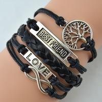 Infinity love & BEST FRIEND tree bracelet with black fashion bracelet New Fashion Women Costume Jewelry