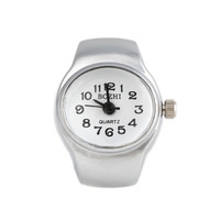 2014 New Arrival Free Shipping 26*21mm Simple Oval Metal Quartz Analog Ring Watch(10Pcs)(White K)24103#