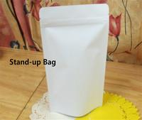 Wholesale 100Pcs/Lot 13x21+4cm White Kraft Paper Bag Doypack Pouch Ziplock Packaging Bag