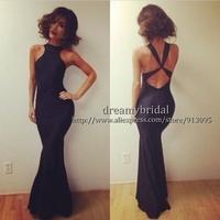 2014 New Fashion Mermaid Sexy Criss Cross Woman Summer Dress Under $ 100 Backless Gown long Prom dresses vestidos de fiesta