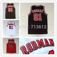 Chicago 91 Dennis Rodman Jersey, Cheap Retro Basketball Jersey Throwback Alternate Rodman Embroidery Logo Basketball Shirt