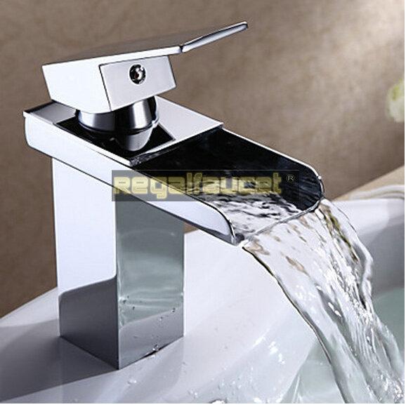 Moderne een handvat waterval badkamer wastafel kraan mengkraan verchroomd messing materiaal se280 - Moderne badkraan ...