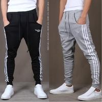 2014  jogger pants,letter printed Stripes harem feet pants,men's banana dance pants,low drop crotch sweatpants for men,110,28-35
