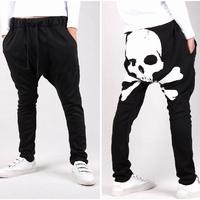 2014 autumn jogger pants,skull printed harem feet pants,men's banana dance pants,low drop crotch sweatpants for men,121,28-35
