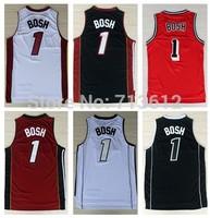 Miami 1 Chris Bosh Jersey, Cheap Retro Bosh Throwback Basketball Jersey Alternate Embroidery Logo Basketball Shirt