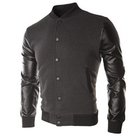 New PU leather stitching coat Baseball uniform Men's jackets
